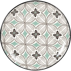 Maisons Du Monde Stoneware Dessert Plate With Blue-grey, Green And White Graphic Print 3611872115203 , White
