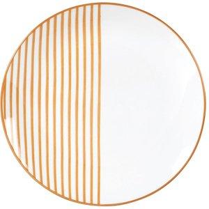 Maisons Du Monde Striped Dessert Plate In Mustard Yellow Earthenware 3611872127947 , Yellow