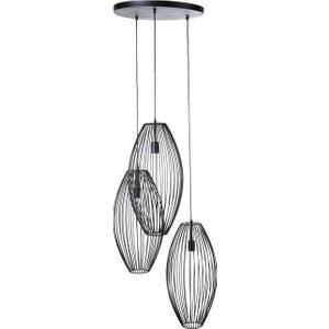 Maisons Du Monde Triple Pendant Light With Round Black Wire Shades 3611872027070 , Black