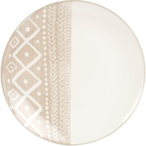 Maisons Du Monde White And Brown Printed Porcelain Dinner Plate 3611872012410 , Beige