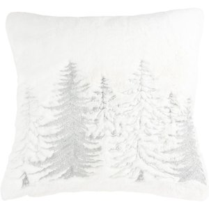 Maisons Du Monde White Cotton Christmas Cushion Cover With Silvery Christmas Tree Embroidery 40x40 3611871982486, White
