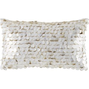 Maisons Du Monde White Cushion With Pearlescent Scale Beads 30x50 3611871891252 Home Textiles, White