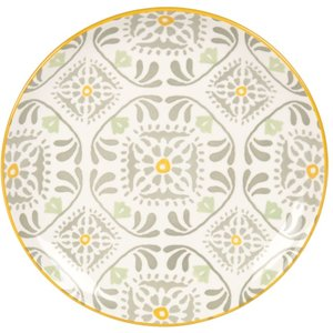 Maisons Du Monde White Earthenware Dessert Plate With Yellow, Grey And Green Print 3611872057077 , Grey