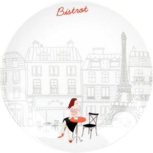 Maisons Du Monde White Porcelain Dessert Plate With Parisian Café Terrace Print 3611872051440 , White