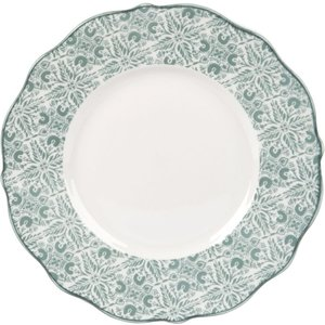 Maisons Du Monde White Porcelain Dessert Plate With Sky Blue Graphic Print 3611871964901 Tables, Blue