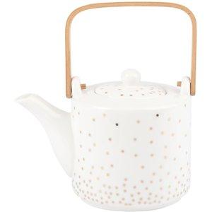 Maisons Du Monde White Porcelain Teapot With Polka Dot Print 3611871967407 , Gold