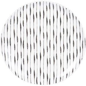 Maisons Du Monde White Stoneware Dinner Plate With Black Lines 3611872124663 , White