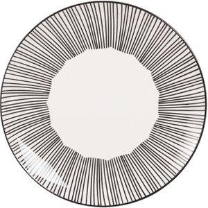 Maisons Du Monde White Striped Stoneware Dessert Plate 3611871732685, Black