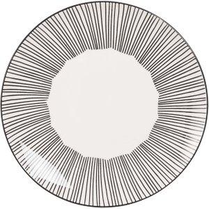 Maisons Du Monde White Striped Stoneware Dinner Plate 3611871732654 Tables, Black