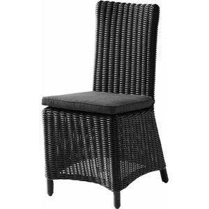 Maisons Du Monde Wicker Garden Chair + Cushion In Ash Black Porto Vecchio 2000001218808 Garden & Leisure, Black
