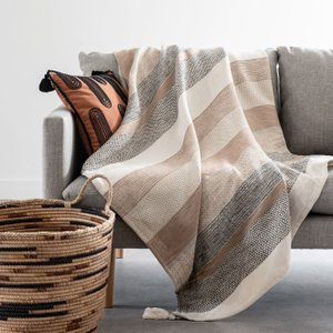 Maisons Du Monde Woven Cotton Throw In Beige, White And Grey 160x210cm 3611872110932 Home Textiles, Beige