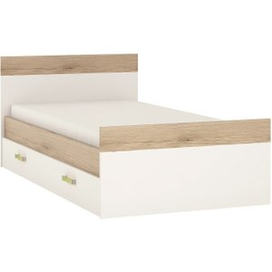 Furniture To Go 4kids 3ft Storage Bed With Lemon Handles - Light Oak And White High Gloss, Light Oak and White High Gloss