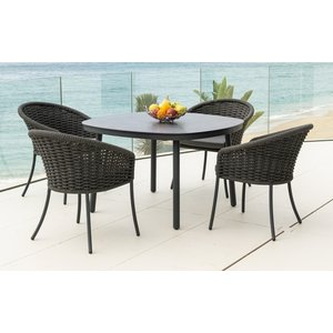 Alexander Rose Cordial Grey 120cm Dining Table With Pebble Hpl Top And 4 Armchair, Pebble and Grey