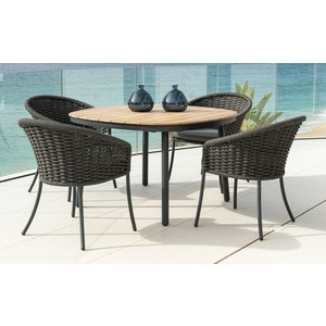 Alexander Rose Cordial Grey 120cm Dining Table With Roble Top And 4 Armchair, Grey