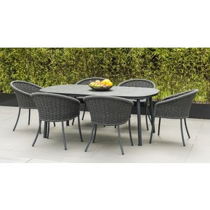 Alexander Rose Cordial Grey 200cm Dining Table With Pebble Hpl Top, Pebble and Grey