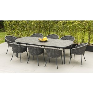 Alexander Rose Cordial Grey 270cm Dining Table With Pebble Hpl Top And 8 Armchair, Pebble and Grey