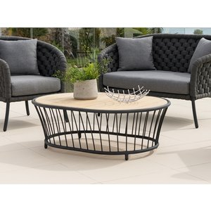 Alexander Rose Cordial Grey Oval Coffee Table With Roble Top, Grey