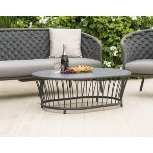 Alexander Rose Cordial Grey Oval Coffee Table With Pebble Hpl Top, Pebble and Grey