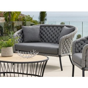 Alexander Rose Cordial Luxe Light Grey 2 Seater Curved Sofa With Cushion, Light Grey