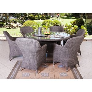Alexander Rose Monte Carlo 150cm Round Dining Table With Glass, Grey