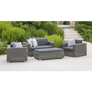 Alexander Rose Monte Carlo 2+1+1 Seater Sofa Set With Ottoman, Grey