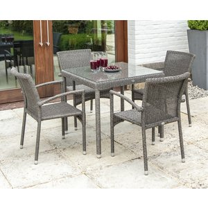 Alexander Rose Monte Carlo 80cm Square Dining Table And 4 Stacking Armchair, Grey