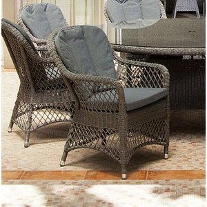 Alexander Rose Monte Carlo Open Weave Dining Chair (pair), Grey