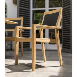Alexander Rose Roble Stacking Armchair With Charcoal Sling, Smooth Lustre with Light Yellow Grain