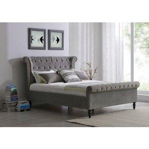 Glimmer Furniture Alfreton Silver Velvet Fabric Bed