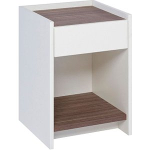 Space London Ambridge White 1 Drawer Bedside Cabinet With Walnut, White with Walnut