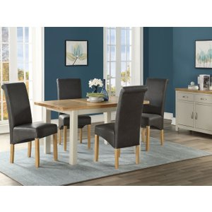 Annaghmore Andorra Butterfly Extending Dining Table And 4 Chairs - Oak And Stone Painted, Stone Painted