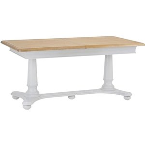 Signature By Scuttle Interiors Annecy Oak And Soft Grey Painted 160cm Extending Dining Table, Oak and Soft Grey Painted