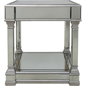 Deco Home Antrim Silver Mirrored End Table, Silver Mirrored