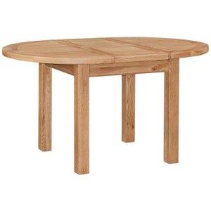 House Brands Appleby Oak Round Extending Dining Table - 110cm-150cm, Satin Wax