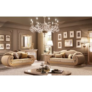 Arredoclassic Leonardo Italian 2+3 Seater Fabric Sofa Set, Golden