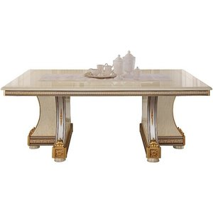 Arredoclassic Liberty Ivory With Gold Italian 200cm-300cm Rectangular Extending Dining Table, Golden with Ivory