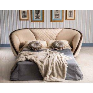 Arredoclassic Modigliani Mahogany Italian 3 Seater Fabric Sofa Bed Cream, Mahogany