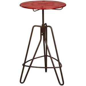 Premier Housewares Artisan Red Metal Lamp Table