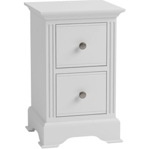 Essentials By Scuttle Interiors Ashby White Painted 2 Drawer Narrow Bedside Cabinet