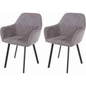 Cfs Value Aspen Grey Fabric Armchair With Black Metal Legs (pair), Grey