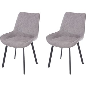 Cfs Value Aspen Grey Fabric Upholstered Dining Chair With Black Metal Legs (pair), Grey