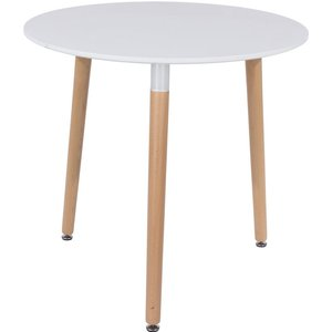 Cfs Value Aspen White Round Dining Table With Wooden Legs, White