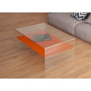 Akante Atena Bent Glass Coffee Table With Orange Glass Shelf