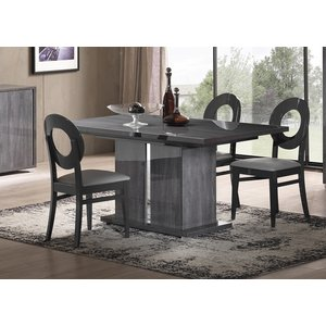 Sicily Designs Augusta Oak Italian Extending Dining Table And 4 Oval Chair, Anthracite Oak