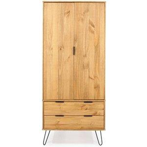 Cfs Value Augusta Pine 2 Door Combi Wardrobe, Waxed Pine and Black