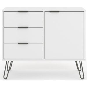 Cfs Value Augusta White 1 Door 3 Drawer Sideboard, White and Grey