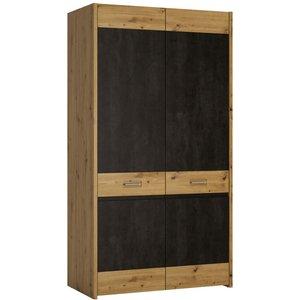 Furniture To Go Aviles 2 Door Wardrobe - Artisan Oak And Dark Accents, Artisan Oak and Dark Accents