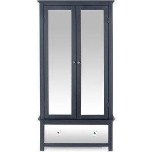 Cfs Value Ayr 2 Door Combi Wardrobe - Grey Painted And Smoked Glass, Grey Painted and Smoked Glass