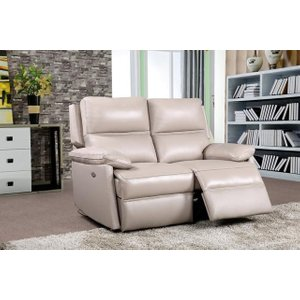 Furniture Now Bailey Taupe Leather 2 Seater Recliner Sofa, Taupe