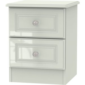 Welcome Furniture Balmoral High Gloss Kaschmir 2 Drawer Bedside Cabinet, High Gloss Kaschmir Front and Matt Kaschmir Carcase